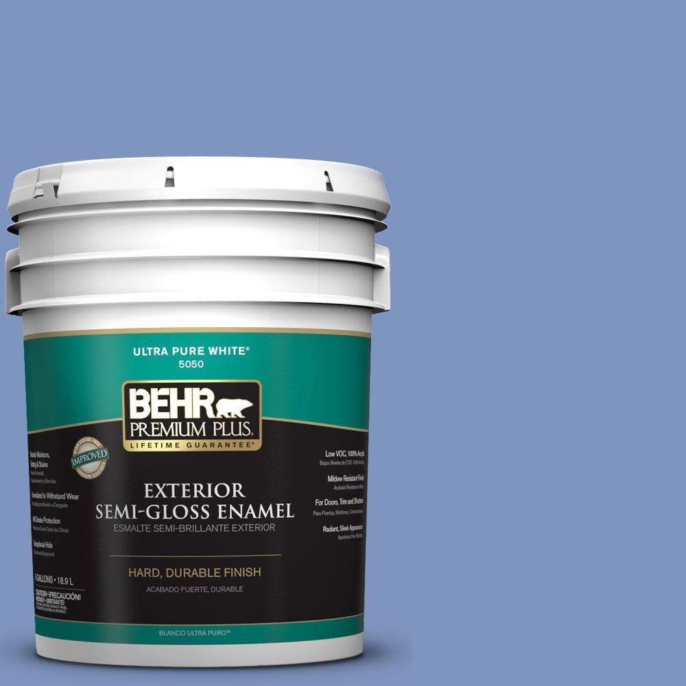 BEHR Premium Plus 5-gal. #M540-5 Blue Satin Semi-Gloss Enamel Exterior Paint