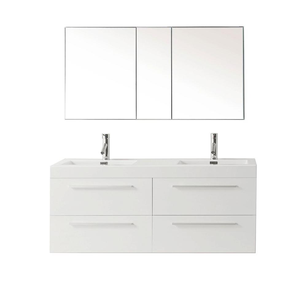 Finley 54.33 in. W Vanity in Gloss White with Poly-Marble Vanity