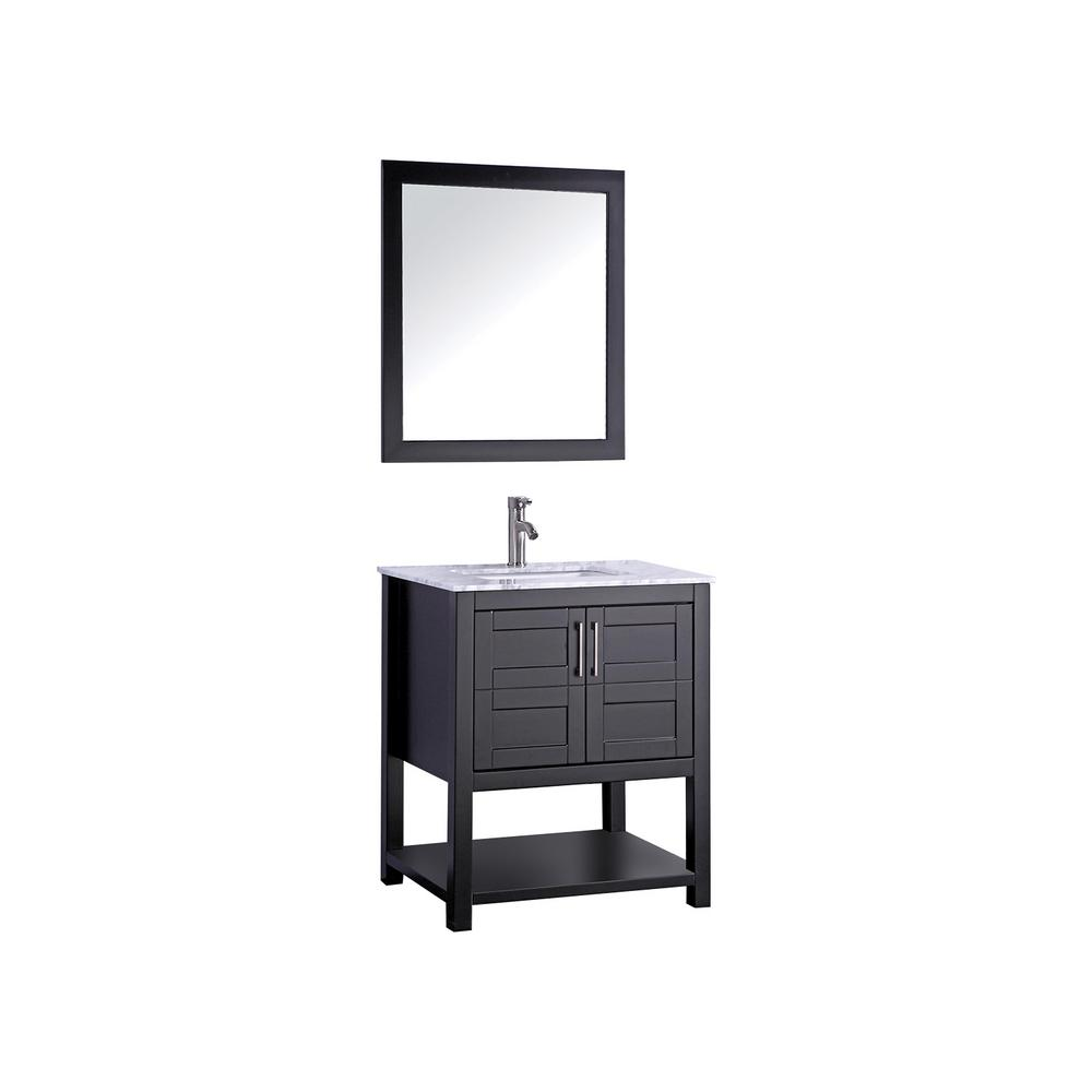 MTD Vanities Norway 30 in. W x 22 in. D x 36 in. H Vanity in Espresso with Marble Vanity Top in White with White Basin and Mirror