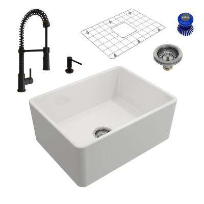 Classico All-in-One Farmhouse Fireclay 24 in. Single Bowl Kitchen Sink with Livenza Rubbed Bronze Faucet and Soap Disp