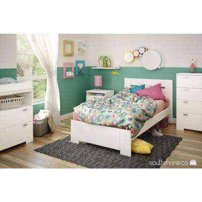Reevo Pure White Twin-Size Complete Bed