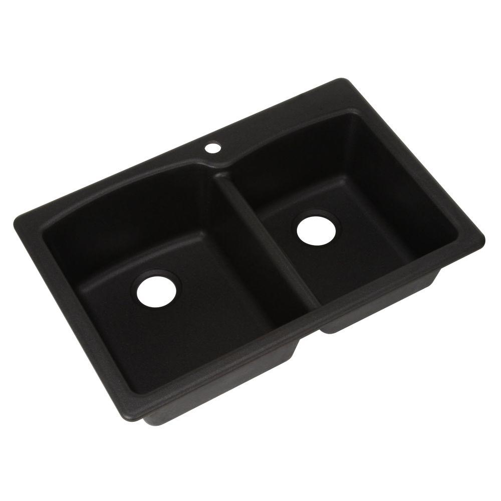 Franke Dual Mount Composite Granite 33 in. 1-Hole Double Bowl Kitchen Sink  in Onyx