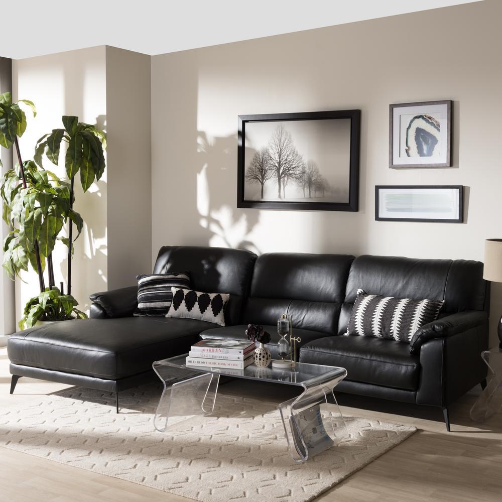 Baxton Studio Radford 2 Piece Black Leather Sleep Sectional 28862 7952 HD The Home Depot