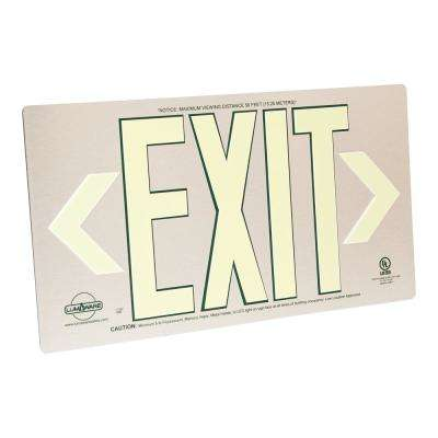 Brushed Metal LumAware Aluminum Energy-Free Photoluminescent UL Listed Emergency Exit Sign (LED Lighting Compliant)