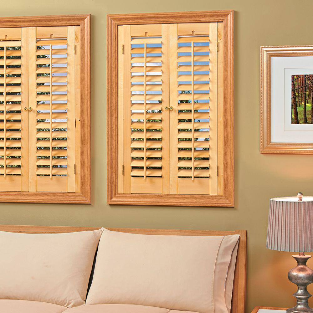 Homebasics plantation light teak real wood interior shutter price varies by size qspd3124 - Home depot window shutters interiors ...