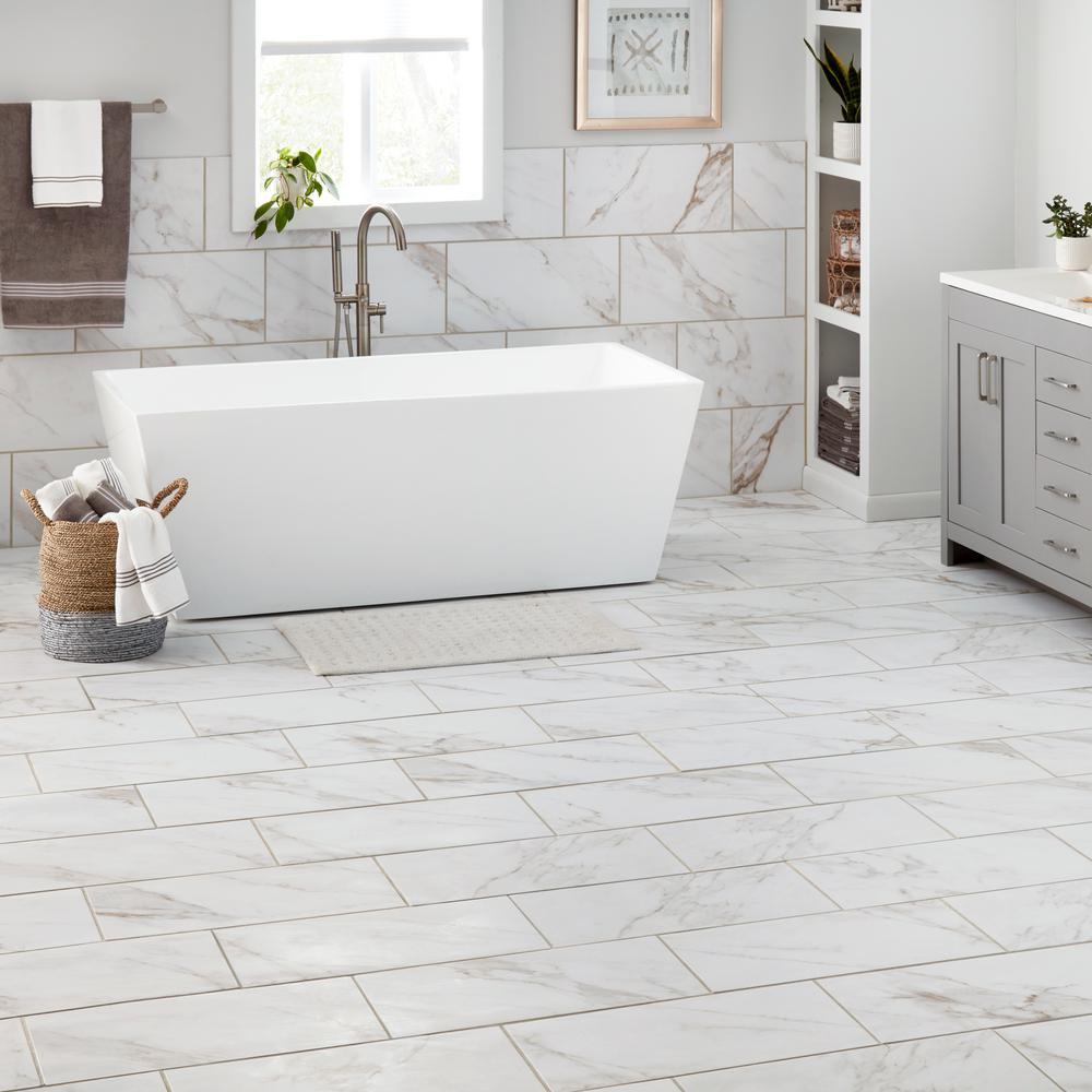 Marazzi Sanden Calacatta Gold Marble, Is Glazed Porcelain Tile Good For Bathroom Floors