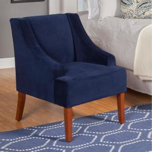 Homepop Swoop Arm Velvet Accent Chair Navy K6499 B215 The Home Depot