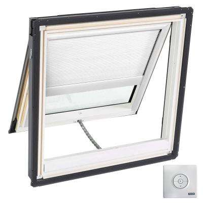 44.25 x 45.75 in. Solar Powered Fresh Air Venting Deck-Mount Skylight Laminated LowE3 Glass, White Light Filtering Blind