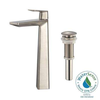 Aplos Single Hole Single-Handle High-Arc Vessel Bathroom Faucet with Matching Pop-Up Drain in Brushed Nickel