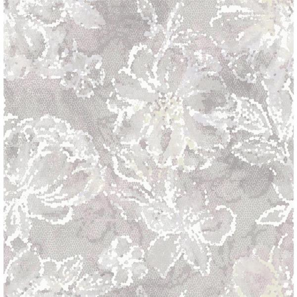 A-Street 8 in. x 10 in. Allure Lavender Floral Wallpaper Sample