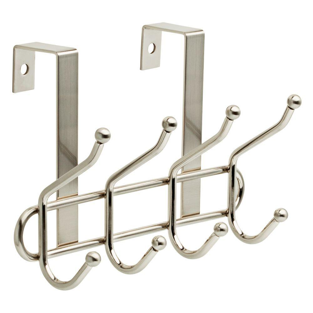 Liberty 9 in. Satin Nickel Over-the-Door Ball End Hook Rack