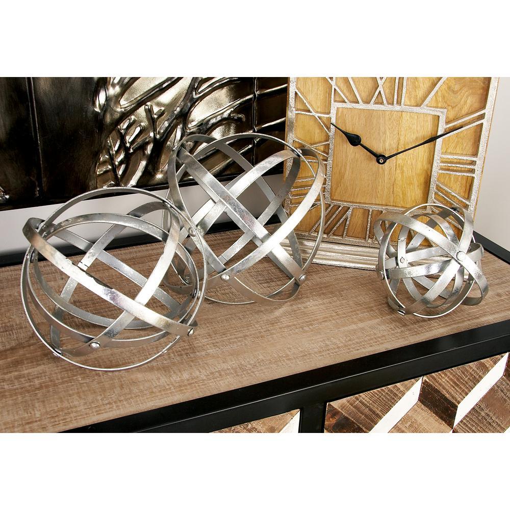 Round Iron Metal Silver Folding Orbs Sculptures (Set of 3)