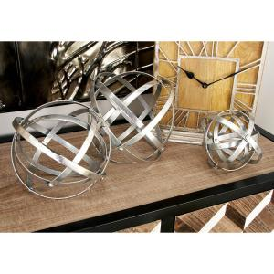 Round Iron Metal Silver Folding Orbs Sculptures (Set of 3) by