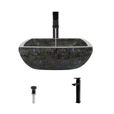 Stone Vessel Sink in Butterfly Blue Granite with 721 Faucet and Pop-Up Drain in Antique Bronze