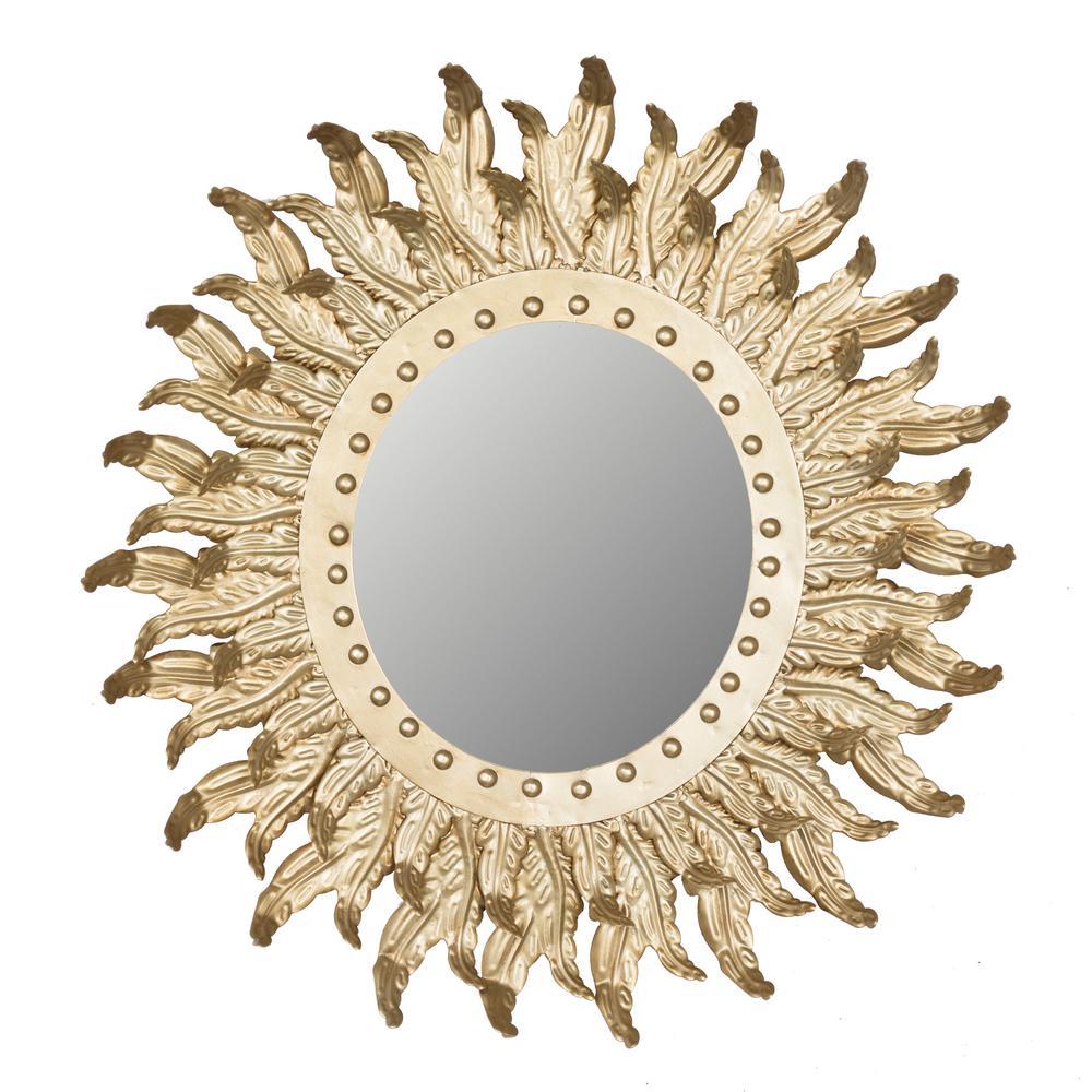 A B Home Hemmingway S Gold Sun Burst Mirror Av43679 The Home Depot
