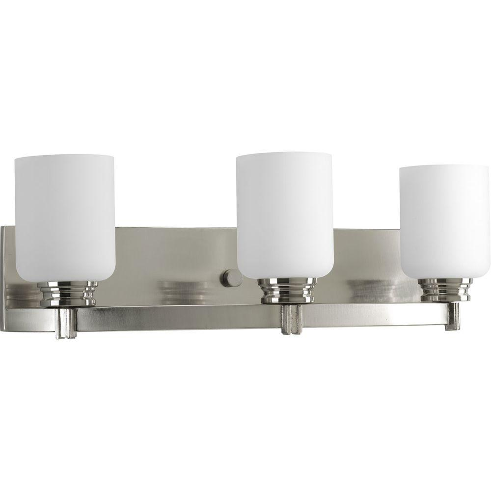 Orbit Collection 3-Light Brushed Nickel Bathroom Vanity Light with Glass Shades
