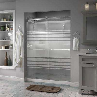 Mandara 60 in. x 71 in. Semi-Frameless Contemporary Sliding Shower Door in Chrome with Transition Glass