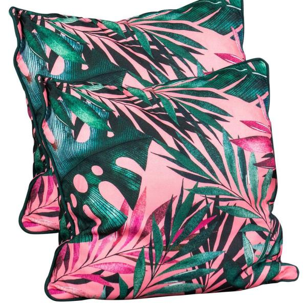 Pink Monstera Leaf Spunpoly Outdoor Throw Pillow (2-Pack)
