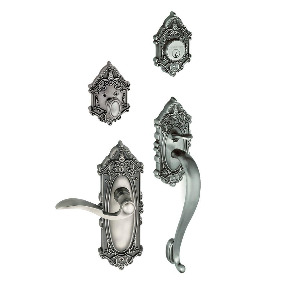 Grandeur Grande Victorian Single Cylinder Antique Pewter S-Grip Handleset with Right Handed Bellagio Lever