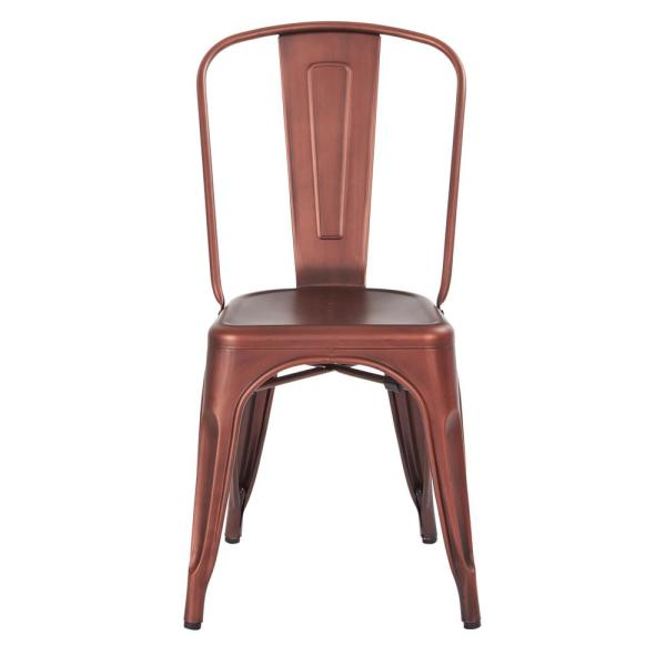 Office Star Products Bristow Brushed Red Copper Armless Metal Chair (4-Pack)