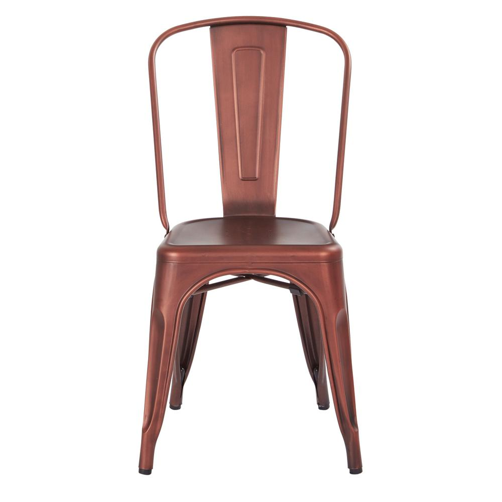 Bristow Brushed Red Copper Armless Metal Chair (4-Pack)