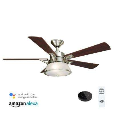 Marlowe 52 in. LED Brushed Nickel Ceiling Fan with Light Kit Works with Google Assistant and Alexa