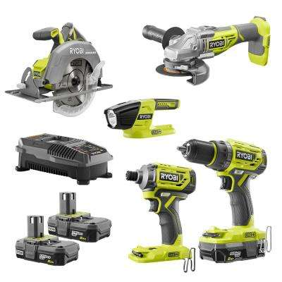 18-Volt ONE+ Cordless 5-Tool Combo Kit with Drill, Circ Saw, Grinder, Impact Driver, (3) 2.0 Ah Batteries, and Charger