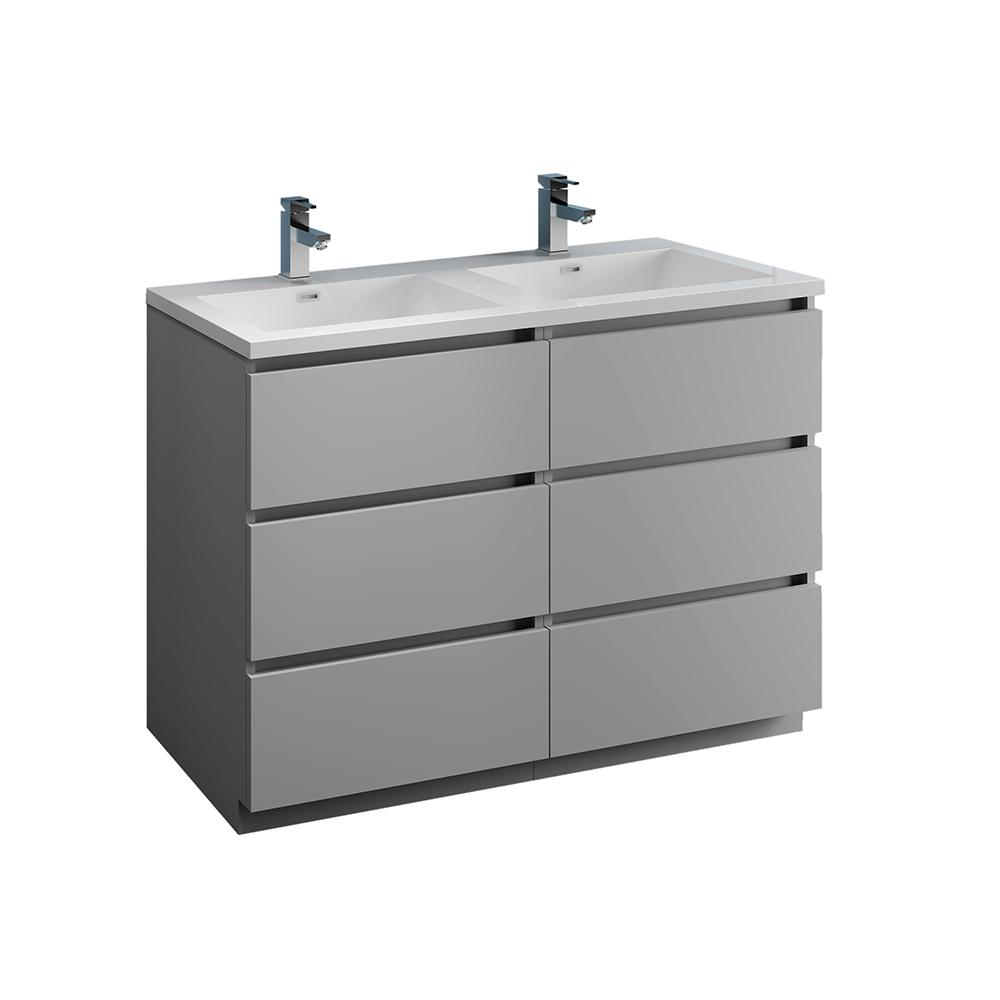 Fresca Lazzaro 48 in. Modern Double Bathroom Vanity in Gray with Vanity Top in White with White Basins