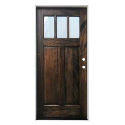 36 in. x 80 in. Espresso Left-Hand Inswing 3--Lite Clear Insulated Glass Prefinished Mahogany Prehung Entry Door
