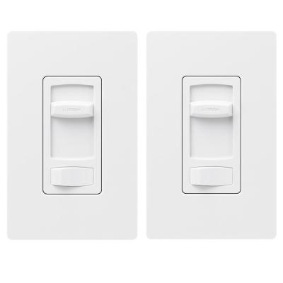 Skylark Contour LED+ Dimmer Switch for Dimmable LED, INC/HAL Bulbs, Single-Pole or 3-Way, with Wallplate White (2-Pack)