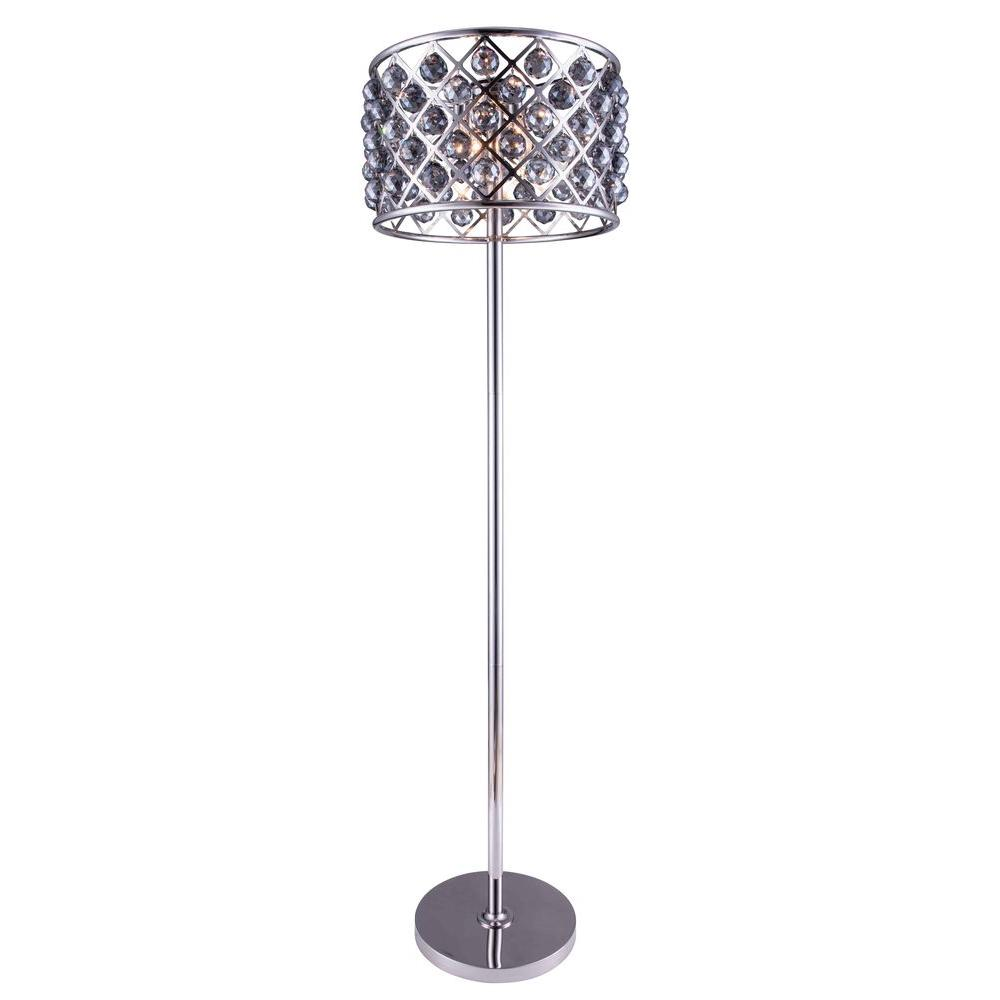 Madison 72 in. Polished Nickel Floor Lamp with Silver Shade Grey