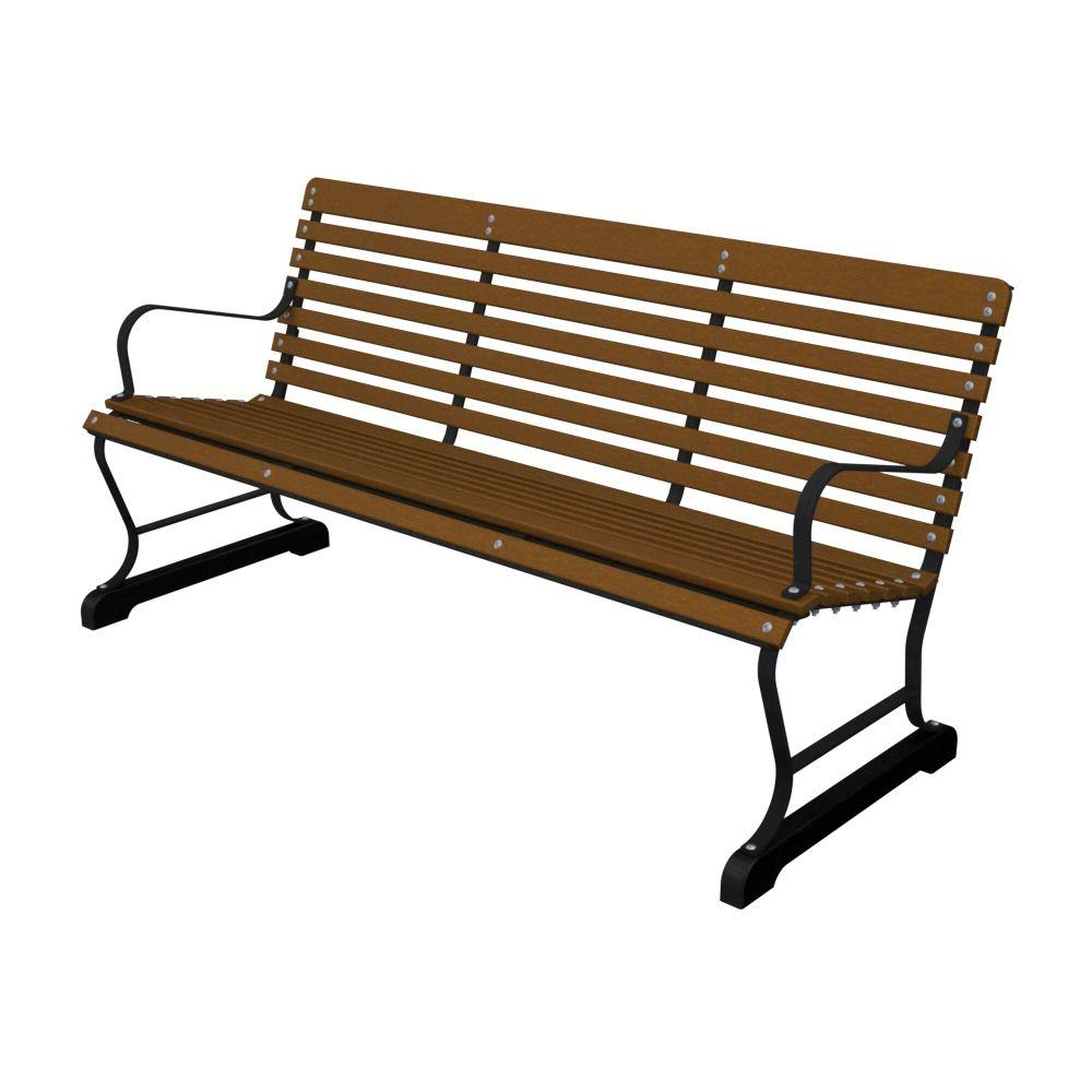 Ivy Terrace 60 in. Black and Teak Patio Bench-DISCONTINUED