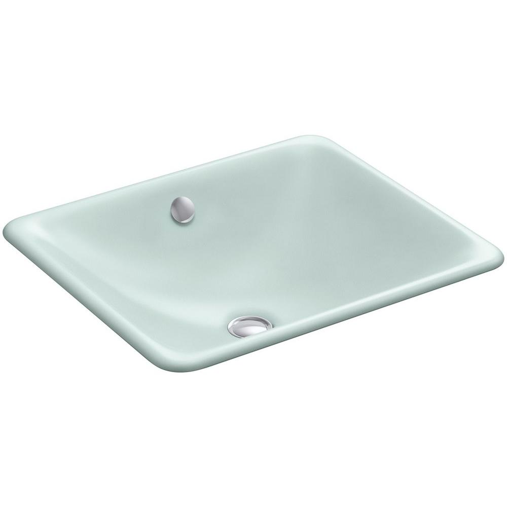 Kohler iron plains dual mounted cast iron bathroom sink in frost with overflow drain k 5400 fe Kohler cast iron bathroom sink