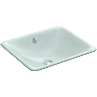 Iron Plains Dual-Mounted Cast Iron Bathroom Sink in Frost with Overflow Drain