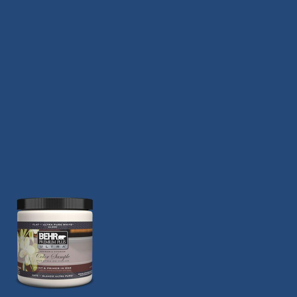 BEHR Premium Plus Ultra 8 oz. #S-H-590 Sailboat Flat Interior/Exterior Paint and Primer in One Sample