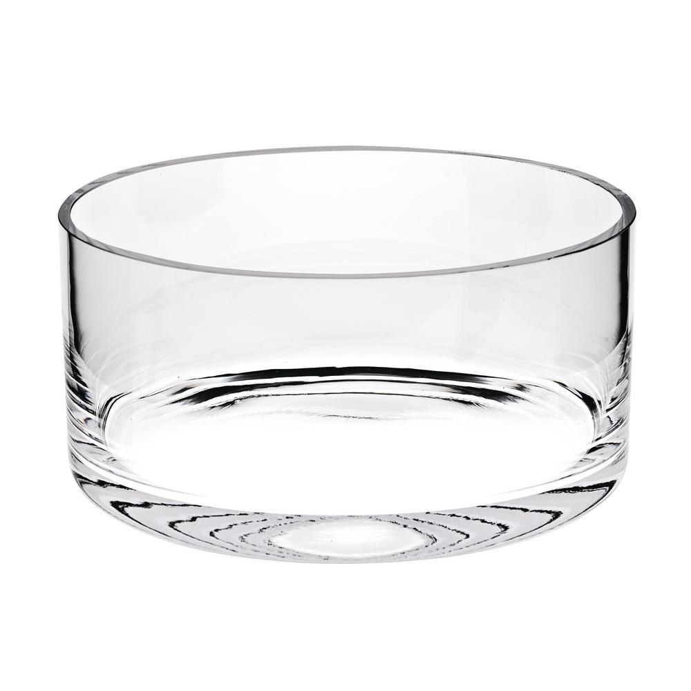 Manhattan 10 in. Clear European Mouth Blown Lead Free Crystal Cylinder Bowl