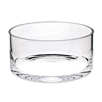 Manhattan 10 in. Clear European Mouth Blown Lead Free Crystal Cylinder Bowl