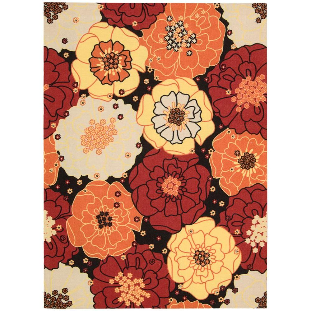 Nourison Home and Garden Chrysanthemum Black 7 ft. 9 in. x 10 ft. 10 in. Indoor/Outdoor Area Rug