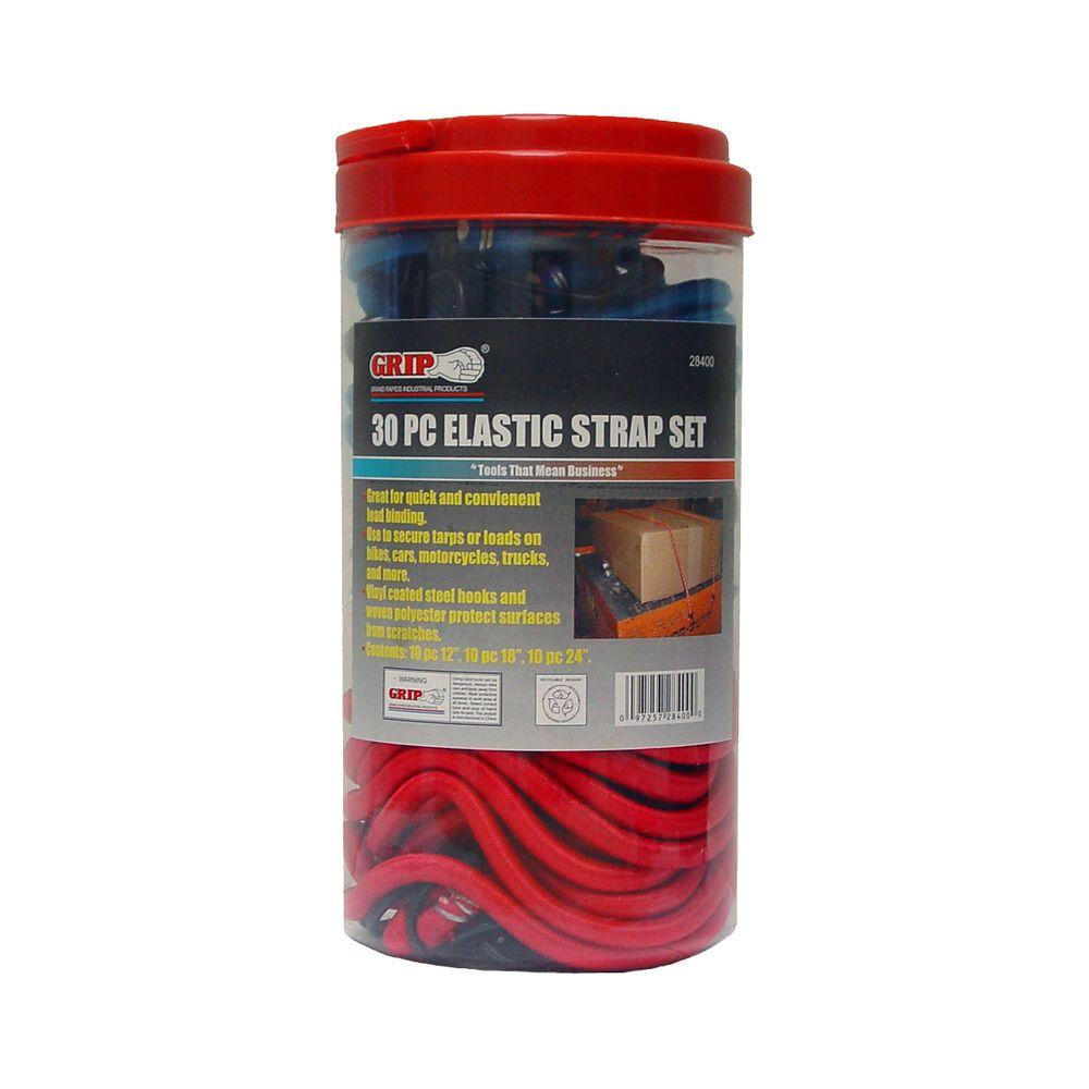 Grip 12 in. to 24 in. Elastic Strap Assortment (30-Piece per
