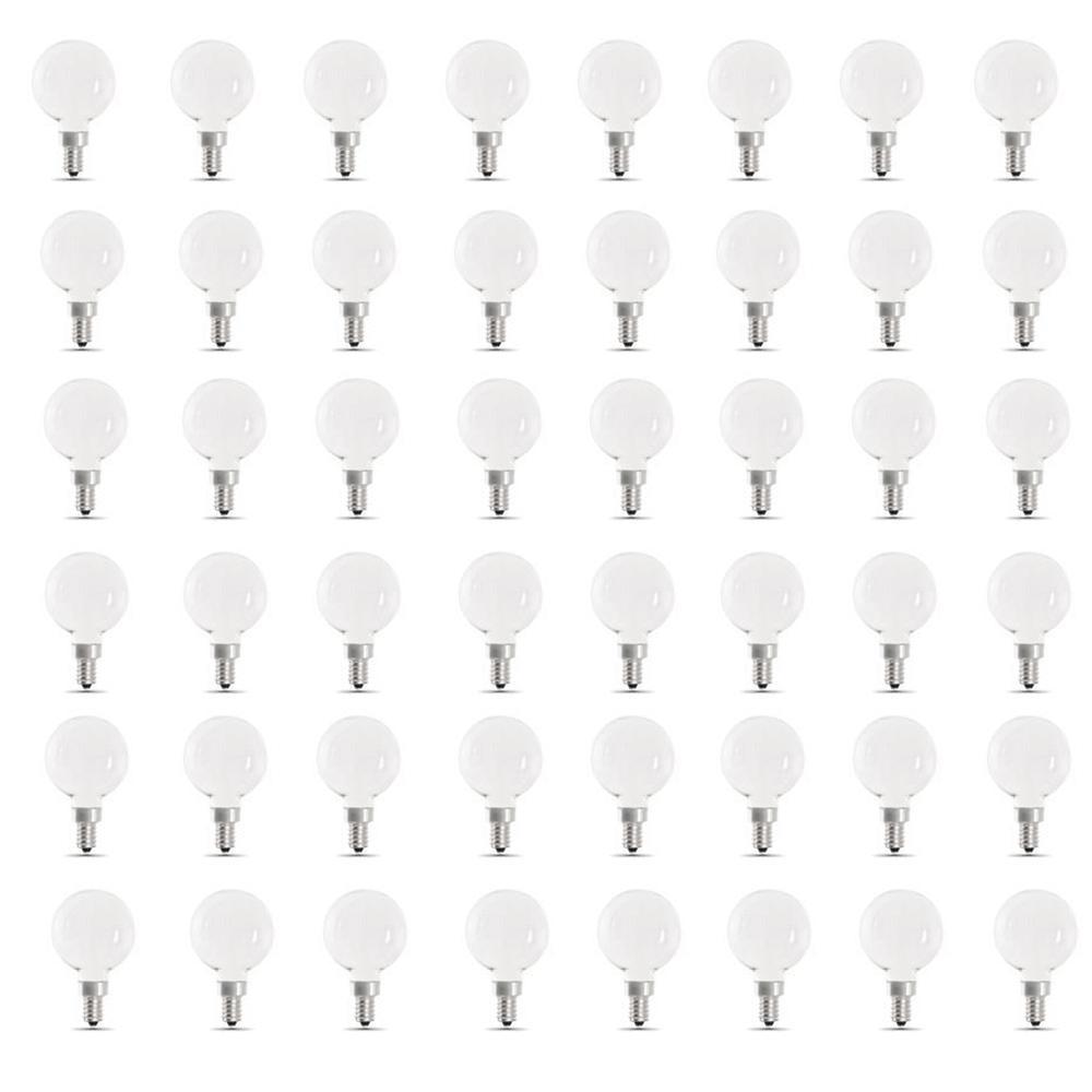 60-Watt Equivalent G16.5 Candelabra Dimmable Filament ENERGY STAR White Glass LED Light Bulb, Daylight (48-Pack)