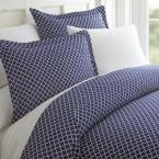 Quatrefoil Patterned Performance Navy King 3-Piece Duvet Cover Set