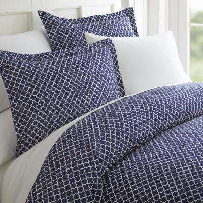 Quatrefoil Patterned Performance Navy Queen 3-Piece Duvet Cover Set