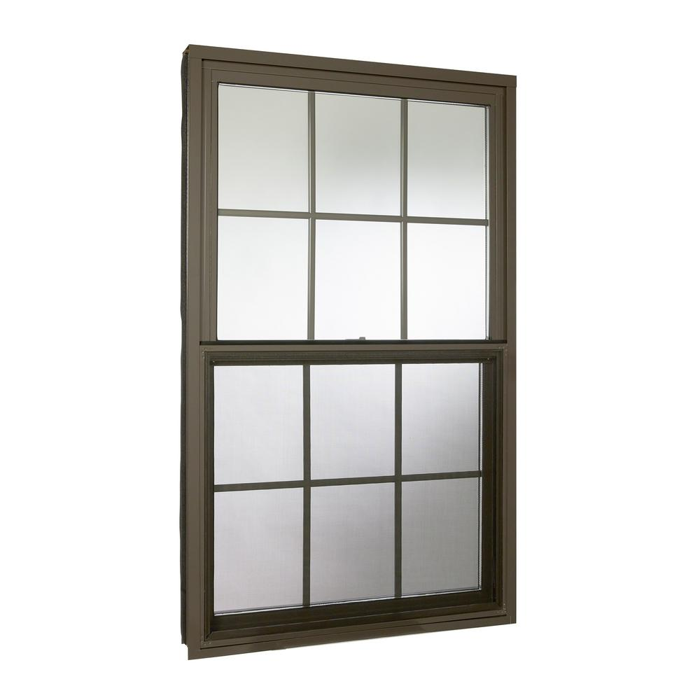 Double Hung Aluminum Window With Low E Gl Grids And Screen Brown