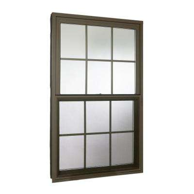 36 in. x 60 in. Double Hung Aluminum Window with Low-E Glass, Grids and Screen, Brown