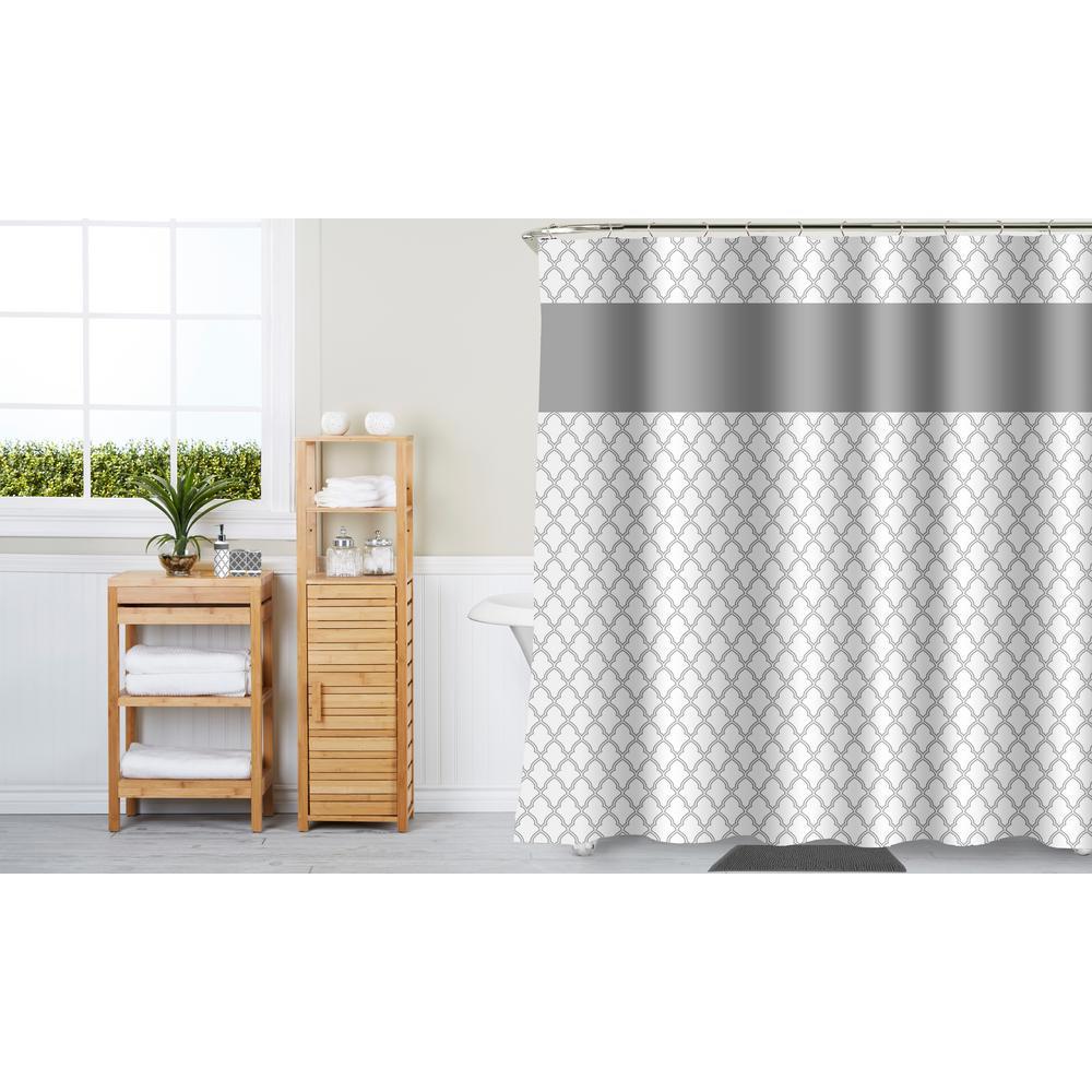 Framework Border Gray 17-Piece Bath Ceramic Accessories and Shower Curtain Set