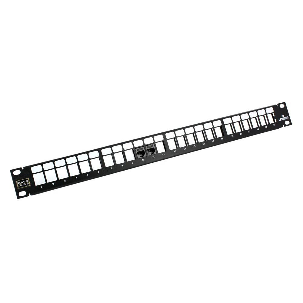 24-Port QuickPort 1RU Patch Panel with eXtreme Cat 6+ Connectors and