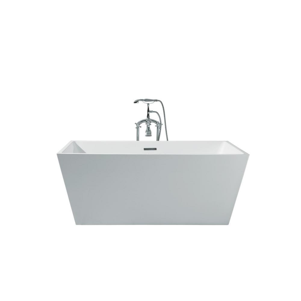 Superb Acrylic Center Drain Rectangle Flat Bottom Freestanding Bathtub In White