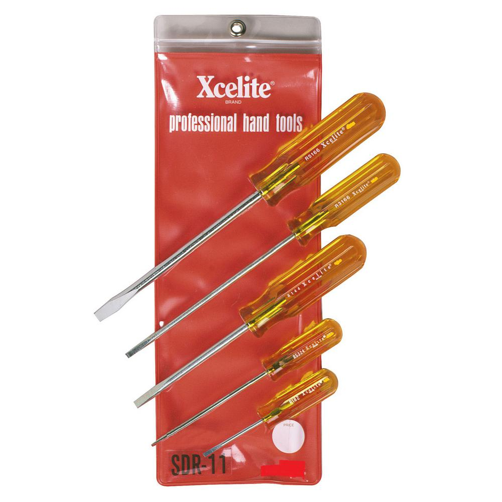 Xcelite Round Blade Slotted Screwdriver Set (5-Piece)