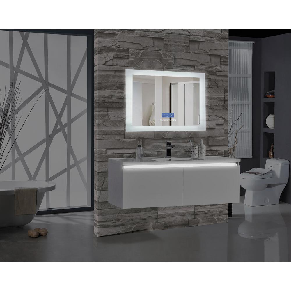 Encore BLU102 48 inch W x 27 inch H Rectangular LED Illuminated Bathroom Mirror with Bluetooth Audio Speakers by