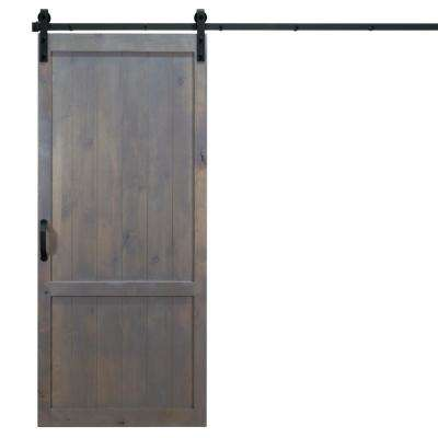36 in. x 84 in. Country Vintage Ash Gray Alder Wood Interior Barn Door Slab with Sliding Door Hardware Kit